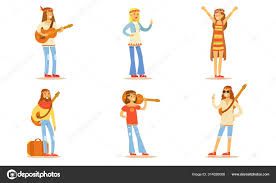 men and women hippie characters set