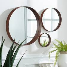 round modern copper metal wall mirrors