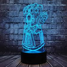 Thanos Glove Table Lamp Marvel Infinity Gauntlet Led Illusion Six Diamond Avengers Theme Infinity War Cartoon 7 Color Usb Change Mood Night Light For Boy Room Holiday Birthday Gift Kid Toy Thanos Hand