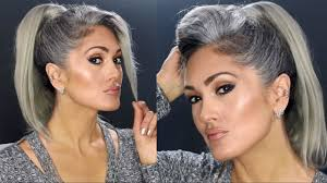 natural gray hair transition month 5