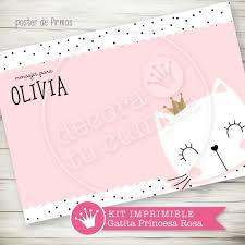 Kit Imprimible Personalizado Gatita Princesa