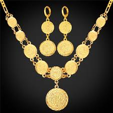 set round pendant necklace earring gift