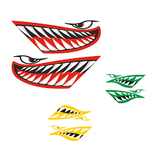 Graphics Decals 4x Big Shark Teeth Mouth Decal Sticker For Sit On Kayak Canoe Boat Car Wall Parts Accessories