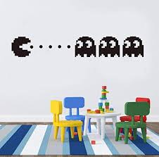 Amazon Com Wall Sticker Pacman Vinyl Wall Decal Home Decor Kids Room Decor Bedroom Diy Wallpaper Removable Wall Stickers58x36 Cm Pvc Kitchen Dining