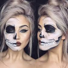 step by step half skull makeup