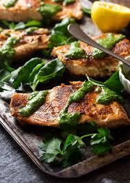 Crispy Seared Salmon with Green Sauce ...