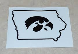 Iowa Hawkeye Vinyl Decal In Shape Of State Of Iowa University Etsy