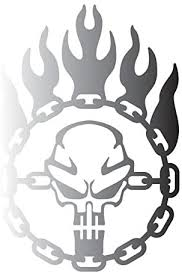 Amazon Com Bamfdecals Immortan Joe War Logo Chain Skull Steering Wheel Mad Max Inspired Vinyl Decal Large Silver Automotive