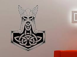 Thor Hammer Vinyl Decal Mjolnir Wall Sticker Viking Superhero Bedroom Decor 2thr Ebay