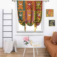 Amazon Com Cabin Decor Window Curtain Tie Up Shades Colorful Kids Room Pattern With Patchwork Style Teddy Bears Cute Funny Childish Thermal Insulated Rod Pocket Curtain For Living Room And Bedroom 48 X