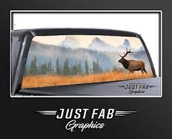 Elk Scene Wildlife Mountains Rear Window Perf Graphic Decal Tint Truck Suv Ebay