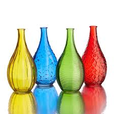 gems colored glass vases