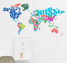 Colourful World Map With Country Text Sticker Tenstickers