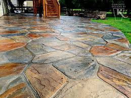 hand stained flagstone concrete patio