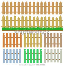 Wooden Fence Set Green Grass Cartoon Stock Vector Royalty Free 1361290385