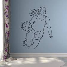 Girl Basketball Wall Decal Sport Art Mural Athlete Locker Room Player Bedroom Stadium Interior Decor Vinyl Window Stickers Q373 Wall Stickers Aliexpress