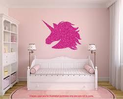 Glitter Unicorn Wall Decal Large Unicorn Sticker Unicorn Etsy