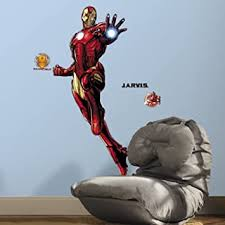 Roommates Iron Man Peel And Stick Giant Wall Decals With Glow Rmk3172gm Multicolor Amazon Com