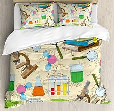 Kids Room Decor Duvet Cover Set By Ambesonne Science Education Lab Sketch Books Equation Loupe Microscope Molecule Flask Decorative Bedding Set With Pillow Shams Multicolor