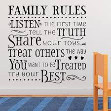 Amazon Com Family Rules Vinyl Wall Decal By Wild Eyes Signs Rules Of The Family Our Family Rules Playroom Decal Family Room Decor Child Wall Lettering Nursery Sticker Day Care Art Hh2056 Handmade