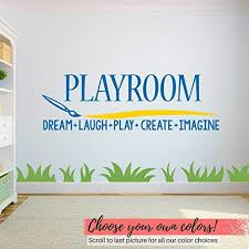 Amazon Com Diuangfoong Playroom Decal Play Room Decal Playroom Sign Paint Brush Playroom Sticker Playroom Vinyl Playroom Wall Decor Kids Room Decal Kitchen Dining