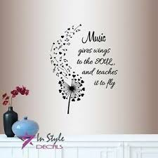 Vinyl Decal Music Gives Wings To Soul Quote Musical Notes Music Wall Sticker 743 Ebay