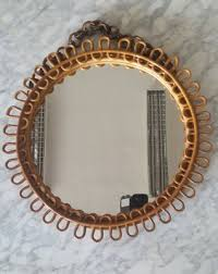 round bamboo frame mirror 1970s for