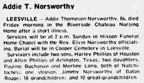 Obituary for Addie Thompson Norsworthy (Aged 86) - Newspapers.com