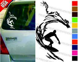 Surfer Surfing Surfboard Beach Wave Cool Decal Car Truck Window Bumper Sticker Ebay