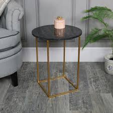 black marble topped side table melody