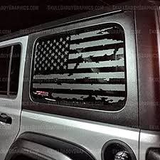 Amazon Com Skull Daddy Graphics Jl Jk Jku Hard Top Window Usa Distressed Flag Decals Stickers To Fit Jeep Wrangler 2007 2020 Jk 2door Both Sides Arts Crafts Sewing