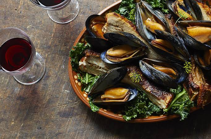Image result for Cider-Cooked Mussels with Kale""