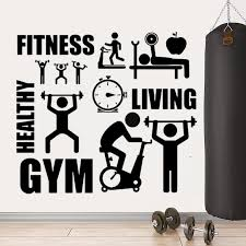 Fitness Gym Wall Stickers Quotes Art Decal Exercise Sports Work Out Office Home Playroom Sport Wall Art Pw96 Wall Stickers Aliexpress