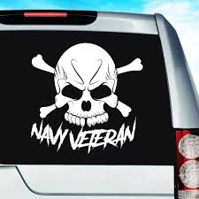 Navy Veteran Skull Vinyl Car Window Decal Sticker Military Decals