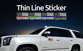 Exterior Accessories Support Police Fire Officer Military Troops Chengyuan Truck 2 Pairs 3x5 In American Usa Flag Decal Sticker For Car Creatrill Reflective Distressed Thin Blue Red Green Line Decal Matte Black
