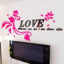 Love Flower Vine Acrylic 3d Wall Stickers Romantic Living Room Backdropdiy Art Decor Sticker Bedroom Creative Decoration Wall Sticker Wall Sticker Romanticbedroom Decor Aliexpress