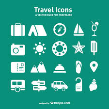 travel icons set free vector