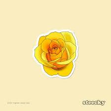 Yellow Rose Flower Sticker Waterproof Vinyl Floral Laptop Car Etsy