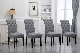 Amazon Com Homesailing Comfortable Kitchen Dining Room Chairs Only Set Of 4 Grey Fabric Upholstered High Back Armless Chairs Side Chairs For Bedroom Living Room Padded Chairs Wood Black Legs Chairs Gray