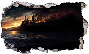 Amazon Com Chicbanners Harry Potter Hogwarts Castle 3d Magic Window V92 3d Wall Smash Sticker Self Adhesive Poster Wall Art Size 1000mm Wide X 600mm Deep Large Home Kitchen