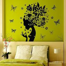 60 90cm Black Flower Fairy Wall Stickers Girls Gift Zooyoo2175 Diy Room Decorative Adesivos De Paredes Removable Pvc Home Decals Leather Bag