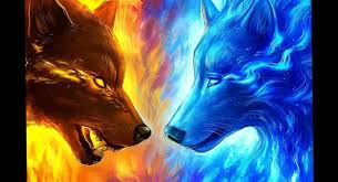 wallpaper wolves fire and ice