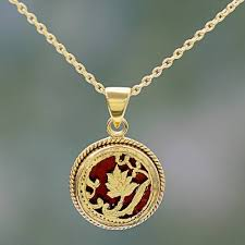 hand made gold over silver red pendant