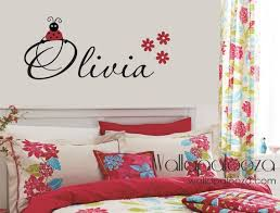 Girls Name Wall Decal Ladybug Wall Decals By Wallapaloozadecals 30 00 Ladybug Wall Decor Ladybug Room Decor Name Wall Decor