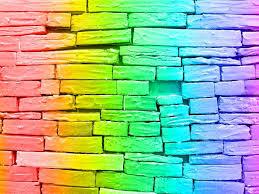 rainbow brick wall stock photo