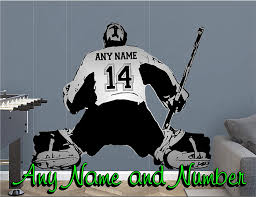Amazon Com Hockey Goalie Wall Decal Customized With Your Name And Number Home Kitchen