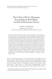 Pdf Don T Fence Me In Managing Psychological Well Being For Elite Performance Horses