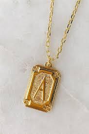 deco rectangle initial pendant necklace