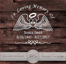In Loving Memory Of Memorial Vinyl Car Decal Personalized Heart With Angel Wings Sku Lmaw1 Item Descript Memorial Decals Alcohol Ink Crafts Angel Decals
