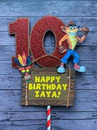 Crash Bandicoot Centerpiece Stick Crash Birthday Decor